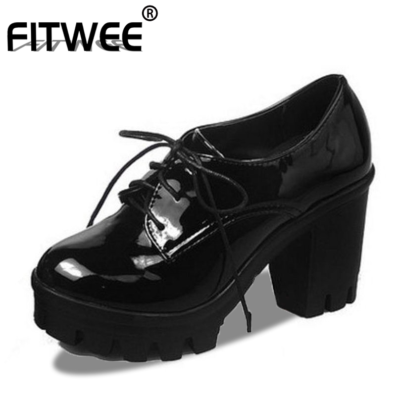 FITWEE New Women Pumps Patent Leather Vintage Pumps Girl Shoes Women Fashion Thick Heels Platform Lace-up Footwear Size 34-43