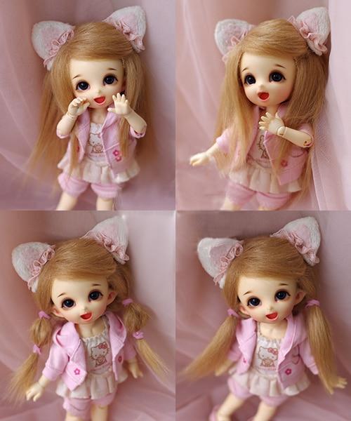 "3-4/"" 9-10cm BJD fabric fur wig Black short hair for AE PukiFee lati 1//12 Doll"