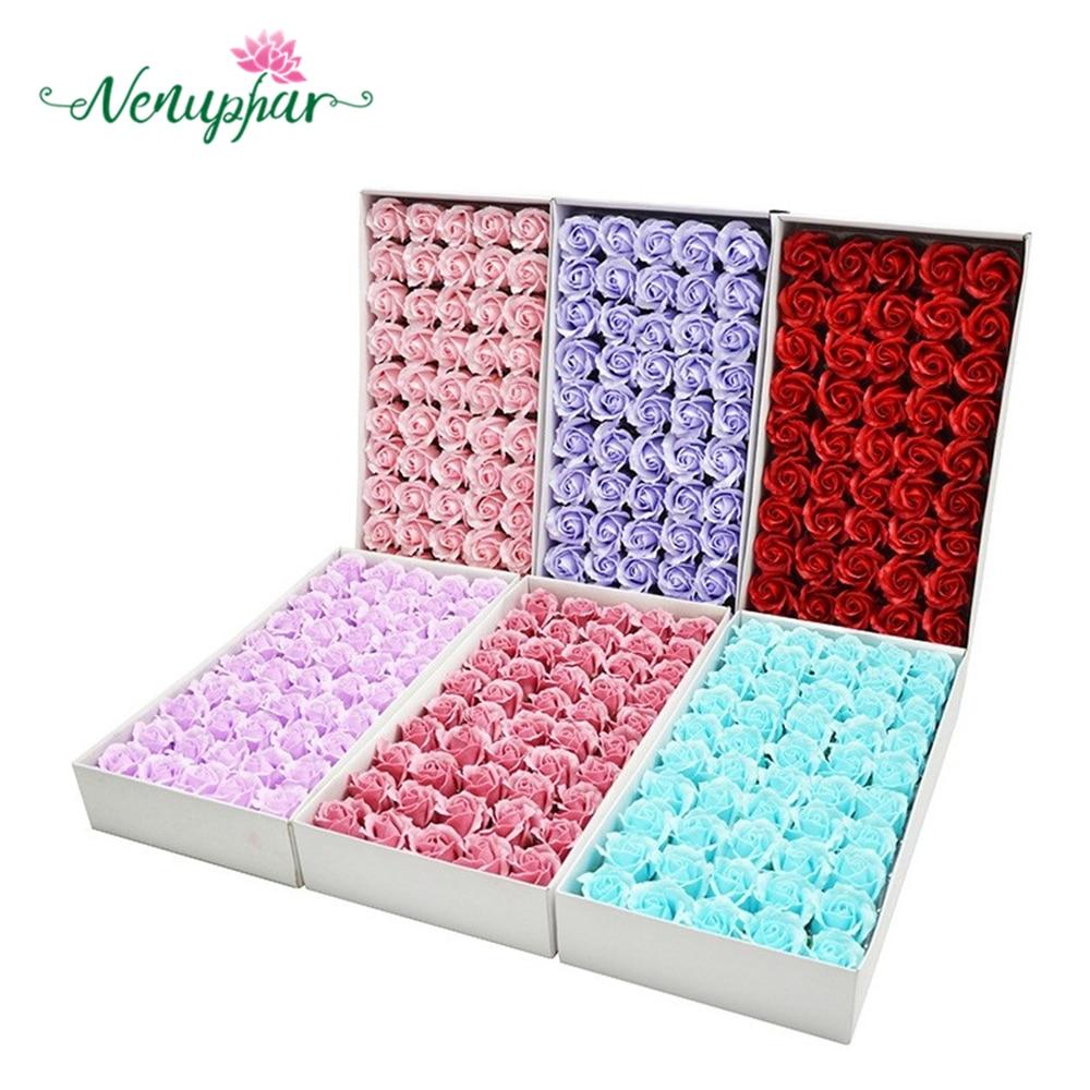 50PCS Colorful Artificial Rose Soap Flower Wedding Party Gift Handmade Petal Decor Bath White Red Pink Blue Purple Romantic