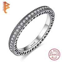 Original 100 925 Sterling Silver Inspiration Hearts With Crystal Finger Rings Authentic Luxury Jewelry For Women