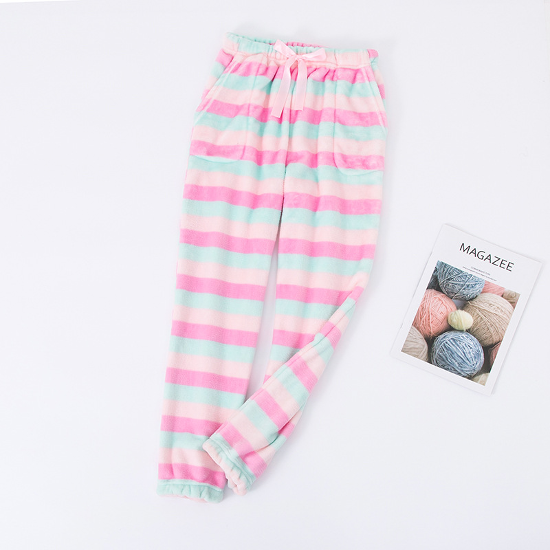 Ladies Striped Pyjamas Flannel Winter Trousers Household Sleep Pants Polyester Full Length Pajamas Pants