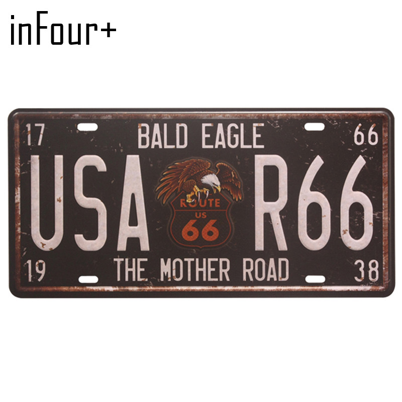 Hot USA-R66 License Plate Metal Plate Car Number Tin Signs Bar Pub Cafe Home Decor Metal Sign Garage Painting Plaques Signs