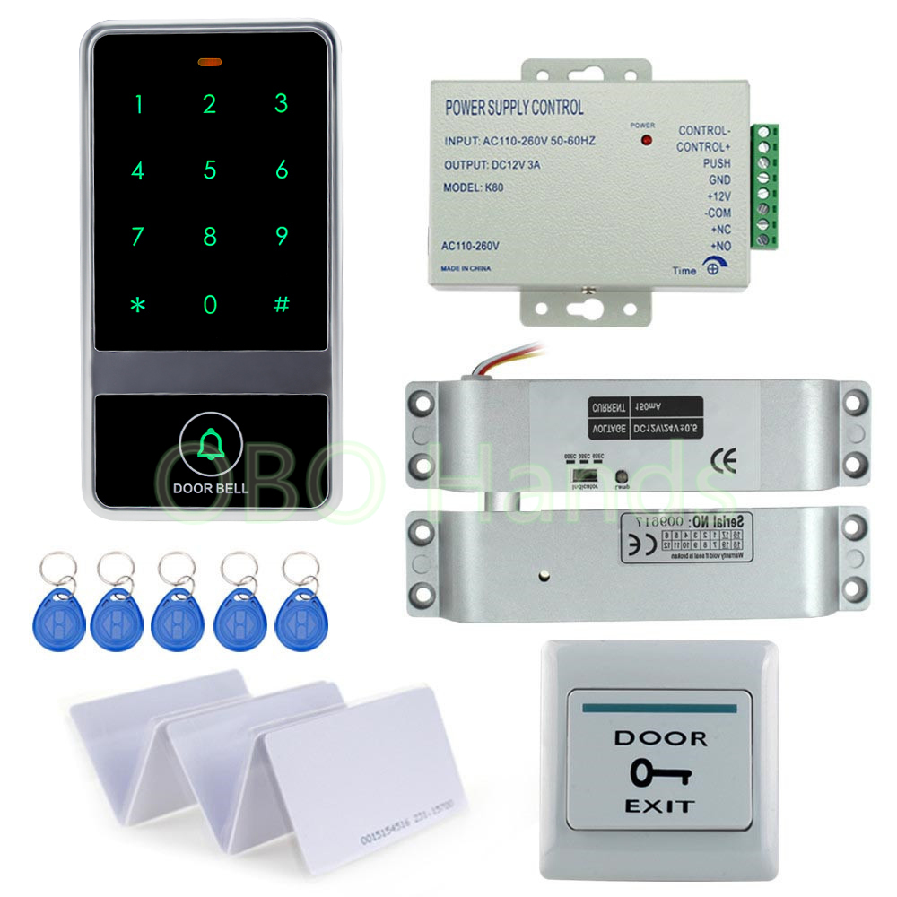 RFID Door Access Control System Kit Set With Electric Drop Bolt Lock With Power With Key Cards With Eixt Button For Glass Door fcl 300a wooden glass anti fire bi directional door 500 000 times reliable power on lock electric bolt lock