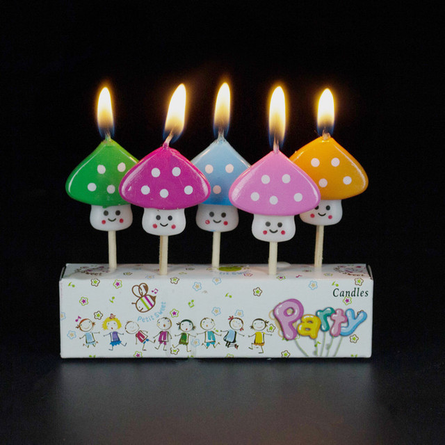 Kids Birthday Candles Animal Shape Mushroom Candle Bougie 5 PCS Free Shipping