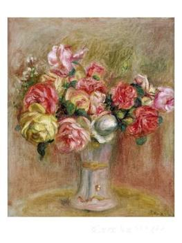 Paintings by Pierre Auguste Renoir Roses in a Sevres Vase reproduction art High quality Hand painted
