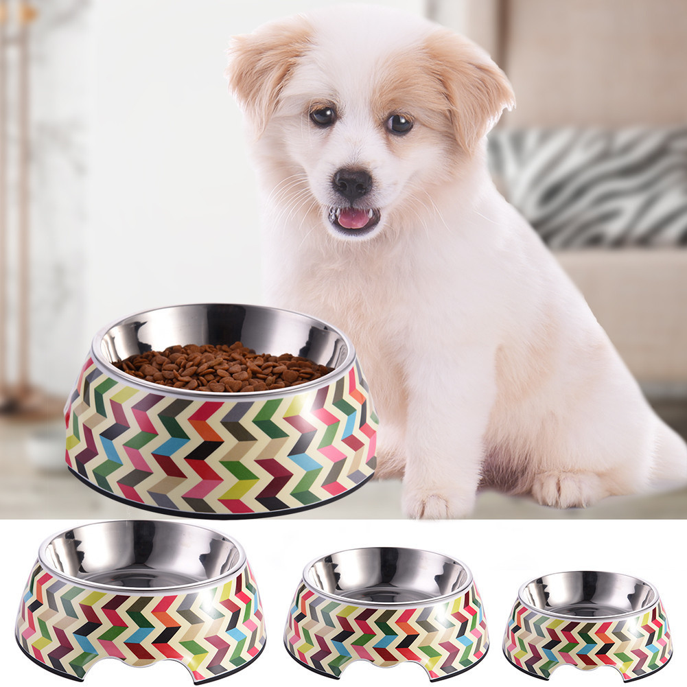 French Bull Multicolor Striola Pattern Pet Bowl with Removable Melamine Stainless Steel Bowl Pet Dog Cat Supplies S/M/L 2017