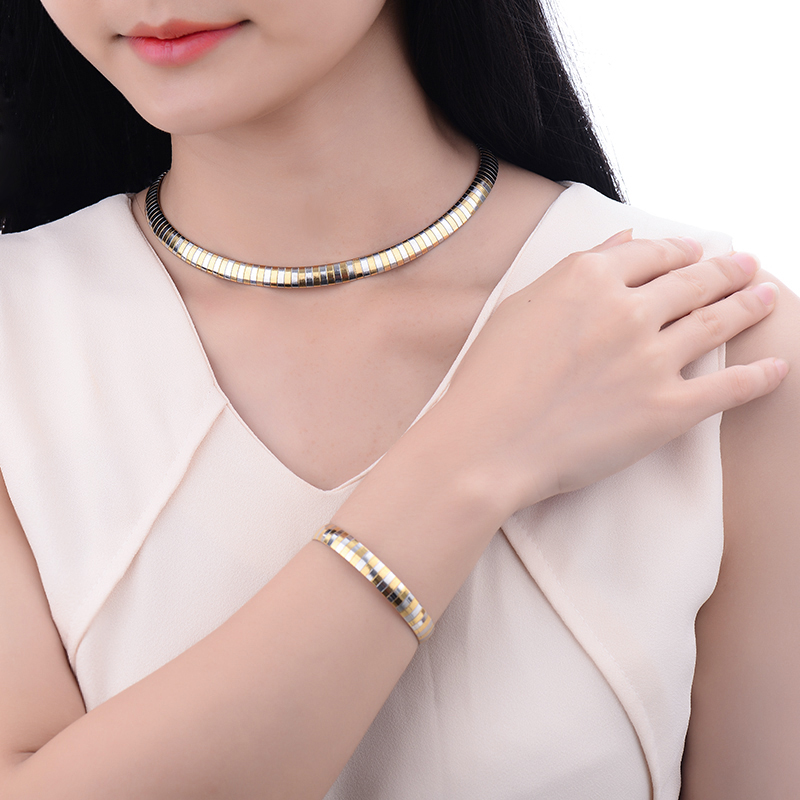 Fashion Women Girls Jewelry Gold Color 316L Stainless Steel Snake Chain Costume Choker Necklace and Bracelet Jewellery Set Sale