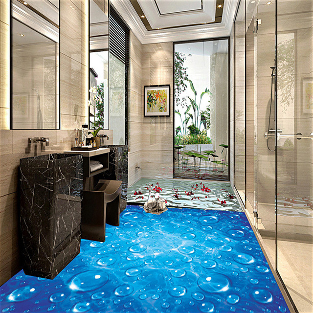 custom waterproof wallpaper for bathroom blue wave water droplets 3d pvc wear non slip wall - Wallpaper For Bathroom