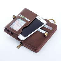 Zipper Bag Premium PU Leather MultiFunction Wallet Pouch Holder W Keyring For IPhone 4S 5S SE