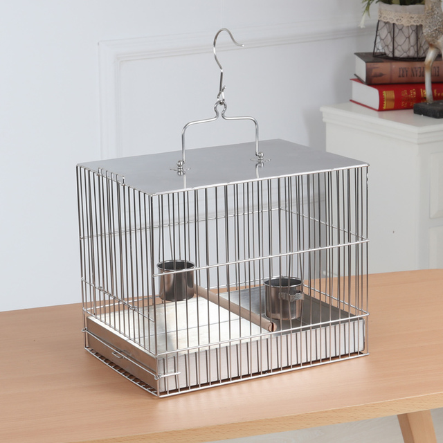 Square stainless steel bird cage with caged parrot bathing cage bird out of the carrying case ZP7011150