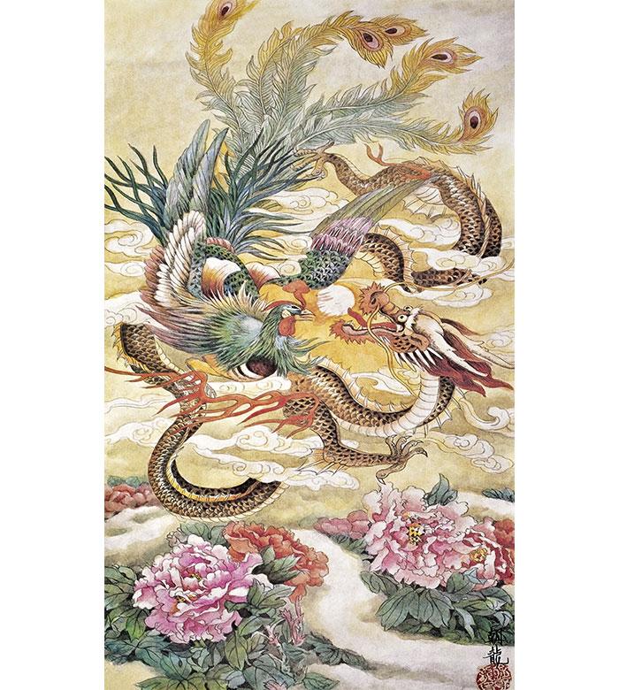 Nieuwe Collectie DIY 100% Moerbei Zijde Suzhou Borduurwerk Sets Gedrukt Patronen Handwerkpakketten, dragon phoenix pioen 35*70 cm-in Borduurwerk van Huis & Tuin op  Groep 1