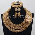 Novo estilo de Cristal Ouro rodada tecelagem colar conjuntos de jóias de casamento nigeriano beads africanos jóias define Frete Grátis CR00914