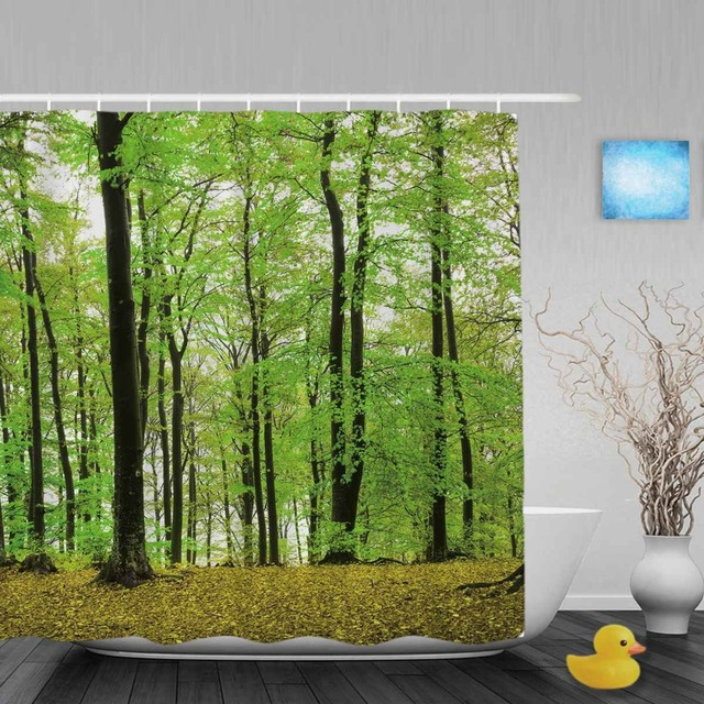 Foggy Forest During Spring Season Bathroom Shower Curtains Nature Scenery Curtain Waterproof Polyester Fabric With