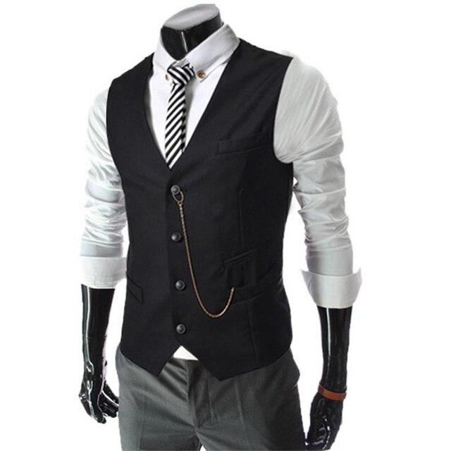 2016 Fashion Men's Waistcoat Formal Suit Vest Slim Vintage Chain Decoration Slim Business Male Casual Vests Colorful Homme 511