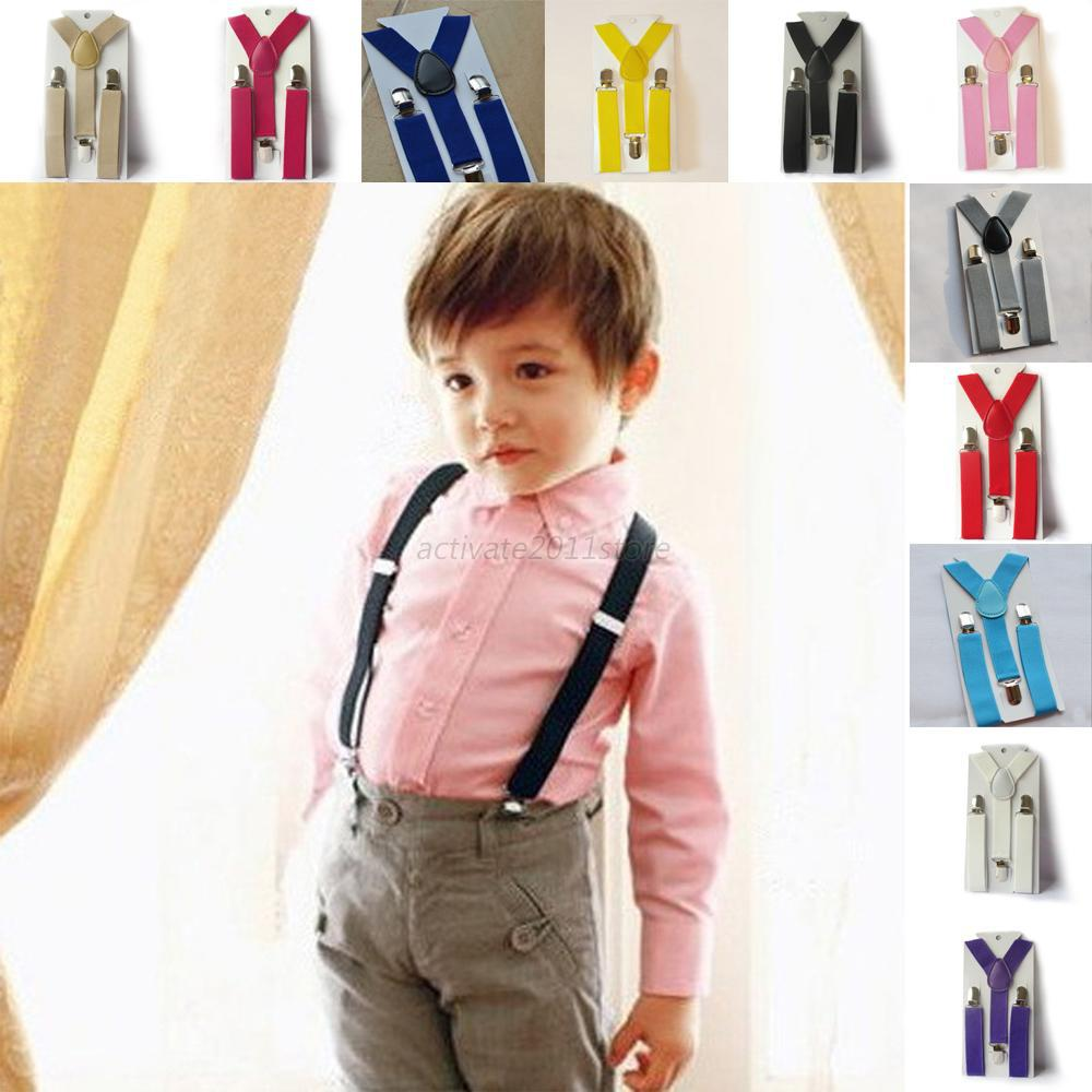 Boys Girls Kid Children Clip On Y Back Elastic Suspenders Slim Adjustable Braces