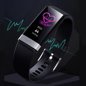 Image 2 - جديد ضغط الدم المعصم الفرقة مراقب معدل ضربات القلب سوار ECG PPG HRV ساعة ذكية مع عرض القلب الكهربائي معصمه