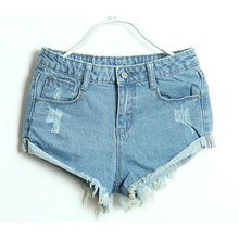 New,Hole cuffs Washing Button Ultrashort mid Waist Denim Shorts,Women Jeans,2 Colors,Wholesale And Retail 821