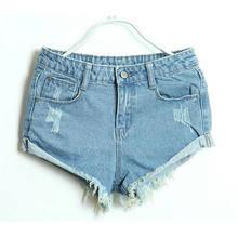 Новинка лета 2016 женские джинсовые шорты с дырками и манжетами