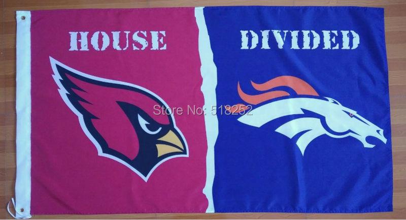 Arizona Cardinals Denver Broncos House Divided Flag 3x5 FT 150X90CM NFL Banner 100D Polyester Custom flag603, free shipping