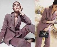 Высококачественные женские костюмы, пиджак и брюки для женщин, удивительный офисный комплект из двух предметов, элегантный тонкий укорочен