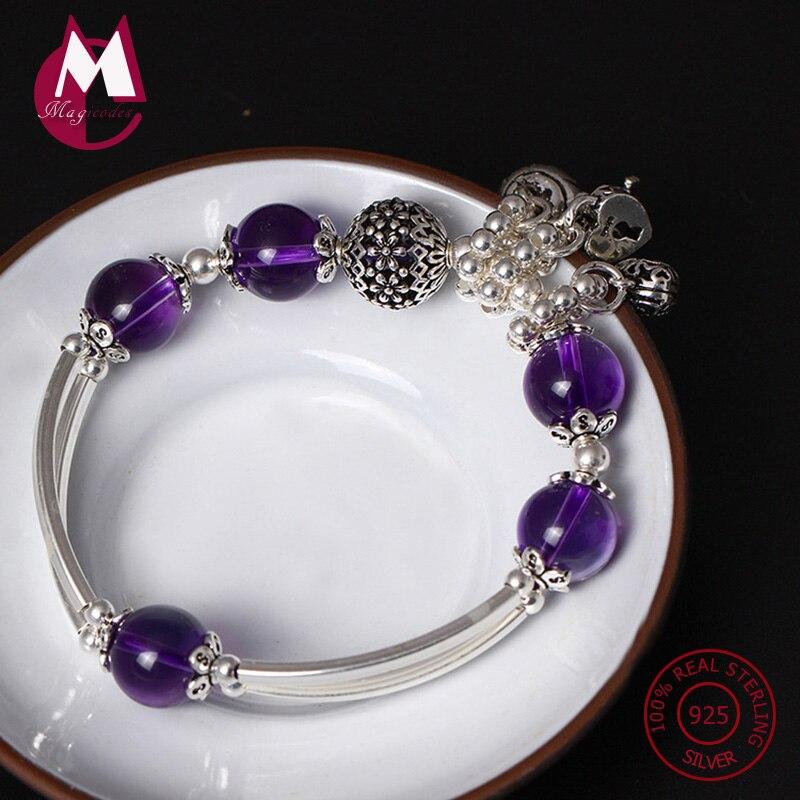 S925 Bracelet en argent Sterling pour femmes améthyste naturelle coeur serrure femmes Bracelets & Bracelets ethnique gland Bracelet bijoux YB30