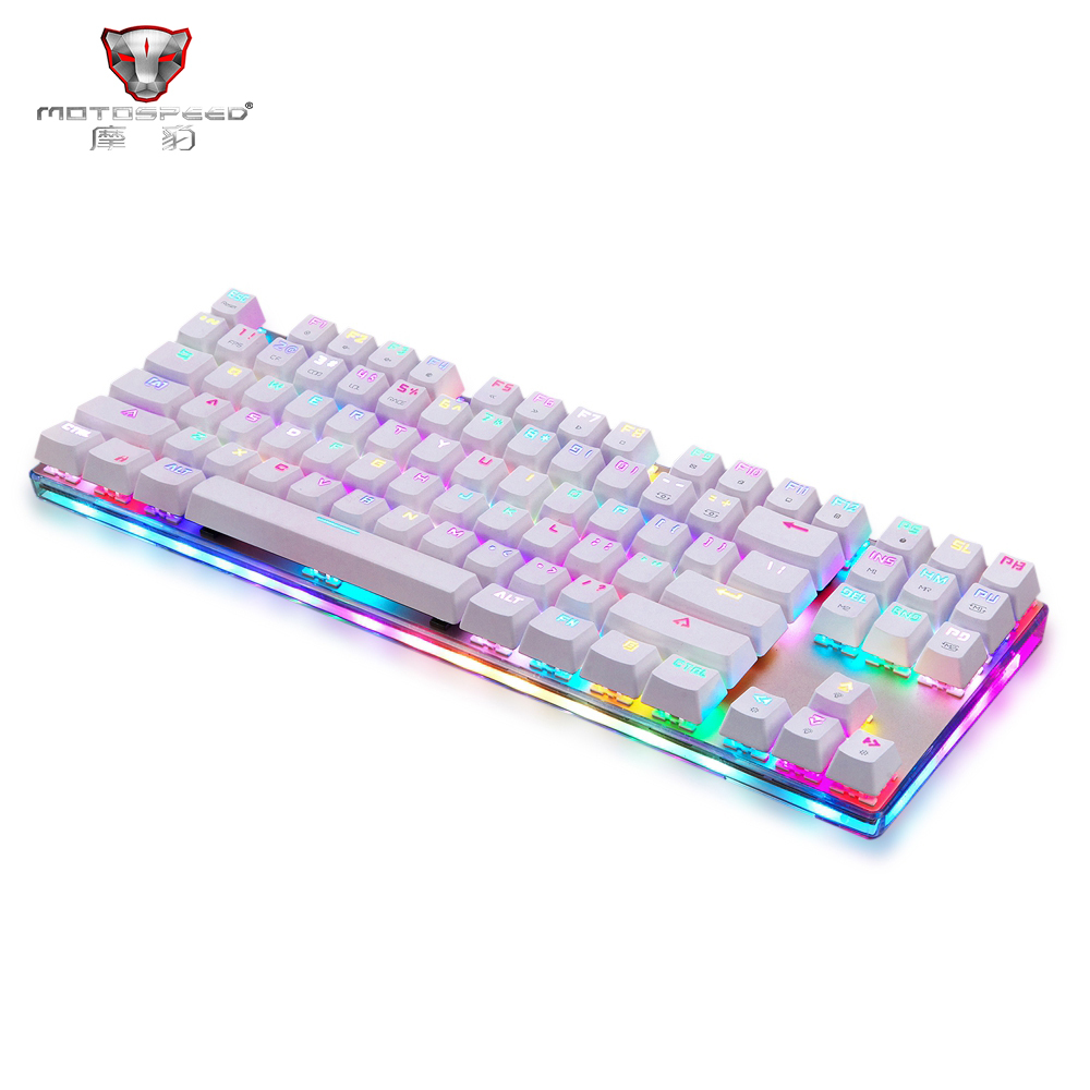 Motospeed K87S 87 Key USB Wired Mechanical Keyboard Blue Switch Keypad with RGB Backlight for PC Computer Desktop Gamer Keyboard motospeed ck108 mechanical keyboard usb wired gaming keyboard blue black switch with backlight mode for desktop laptop gamer