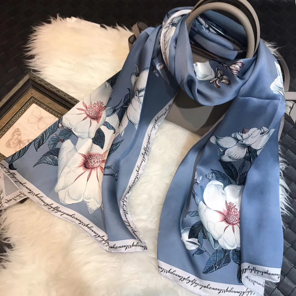[BYSIFA] Winter Grey Blue Silk   Scarf   Foulard Women New Lilac flower Design Long   Scarves     Wraps   Fashion 100% Pure Silk   Scarf   Shawl