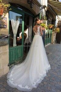 Image 2 - A Line Long Sleeves Wedding Dresses Tulle Lace Appliques Vestido De Noiva Button Illusion Bridal Gowns Court Train Custom