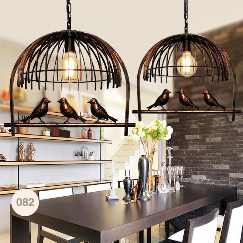 American Bird Chandelier Retro Industrial Style Lamp
