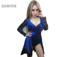 DJGRSTER 2017 New Outerwear Rivets Female Fashion coat jazz clothing bodysuit Stage costumes for singers Hip hop Dance costumes