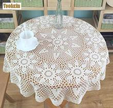 Pastoral Cotton Crochet tablecloth white tea Table cloth towel round lace Tablecloth Covers wedding decoration