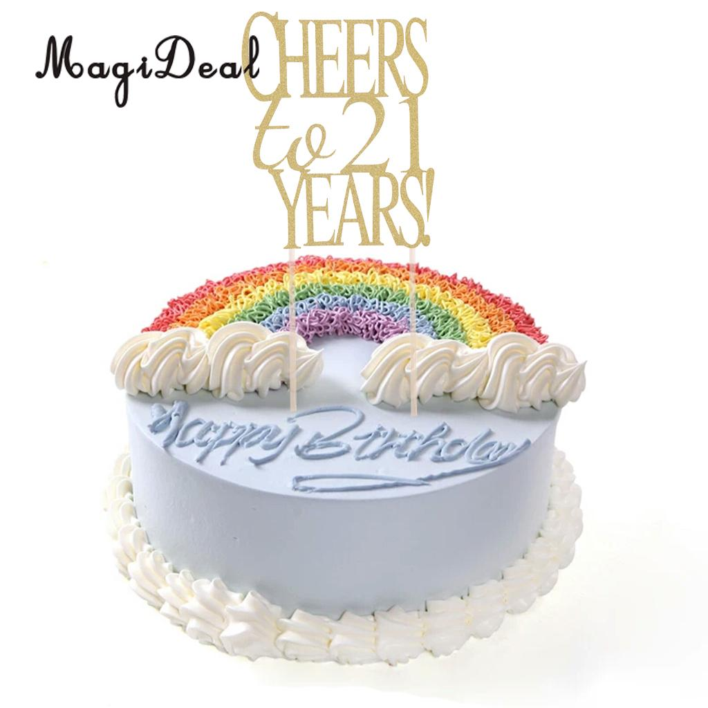 20 Pieces Glitter Paper Cheers To 21 30 50 Years Cake Topper For Birthday Wedding Anniversary In Decorating Supplies From Home Garden On