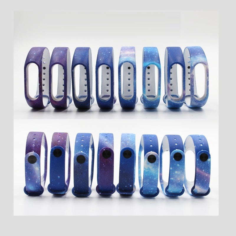 for Xiaomi mi band 2 Strap miband 2 Strap Bands Colorful Starry Sky All Stars Splash Soft Rubber Silicone Watch Straps Bands New original xiaomi steel net watch band for miband