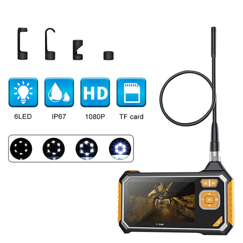 4.3 Inch 6LED 8mm Endoscope 1080P Inspection Camera Borescope 18650 Battery Industrial Snake Hard Handheld Endoscope