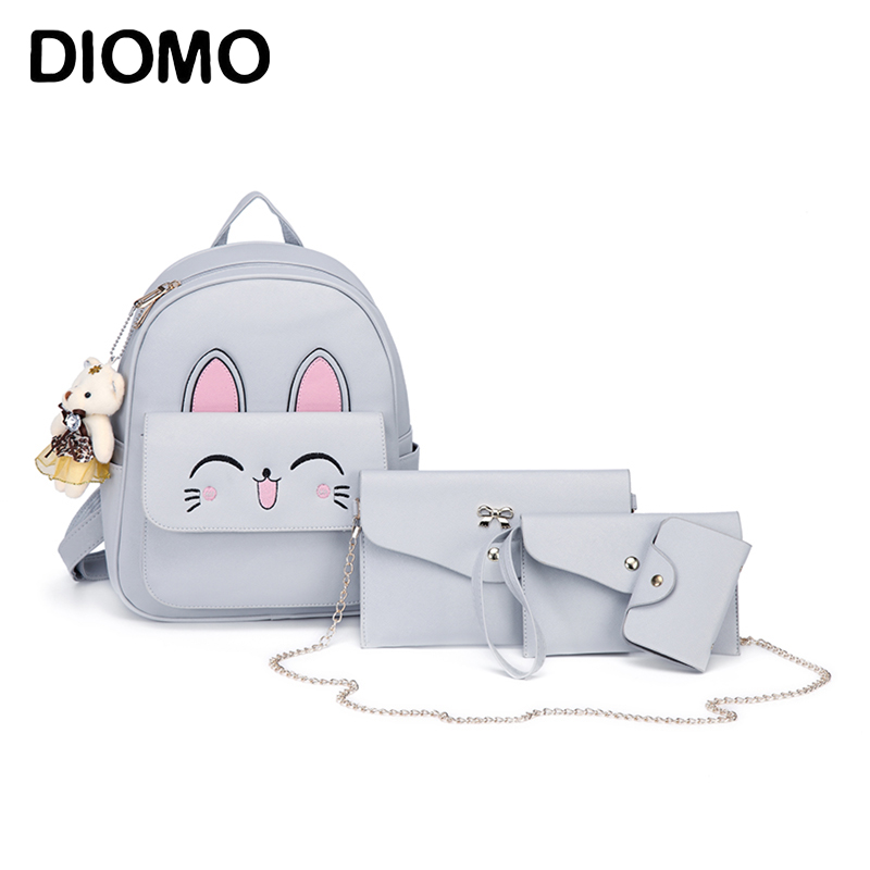 DIOMO Cute Cat Backpack Set for Women High Quality PU Leather Daypack for Girls Small Backpacks Female Bag Set mochila women fashion high quality small travel bags lady cute black pu leather backpack with solid bag teenager cute backpack