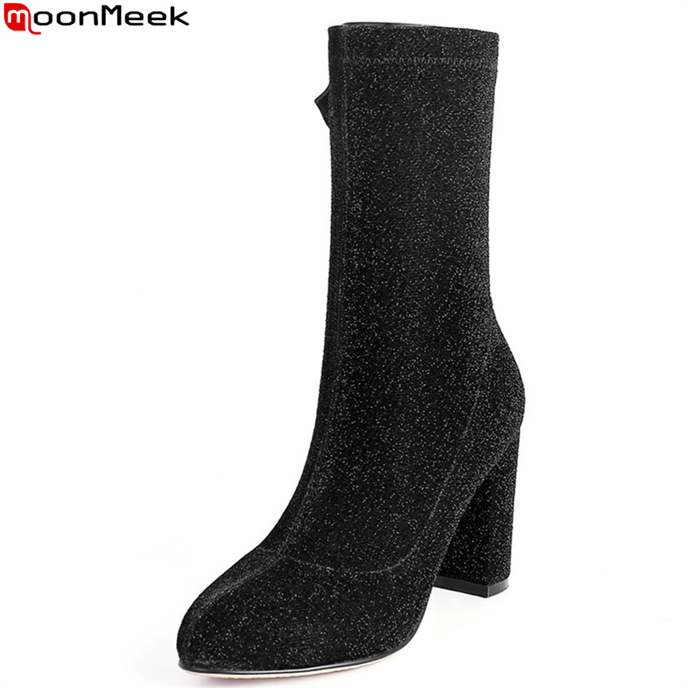 MoonMeek hot sale new arrive women boots autumn winter ladies boots zipper round toe high heel ankle boots classic
