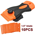 10PCS Automotive Double Edged Plastic Razor Blades and 1Pcs Long Handle Mini razor Scraper For Glue Removing Squeegee CN051P+10P