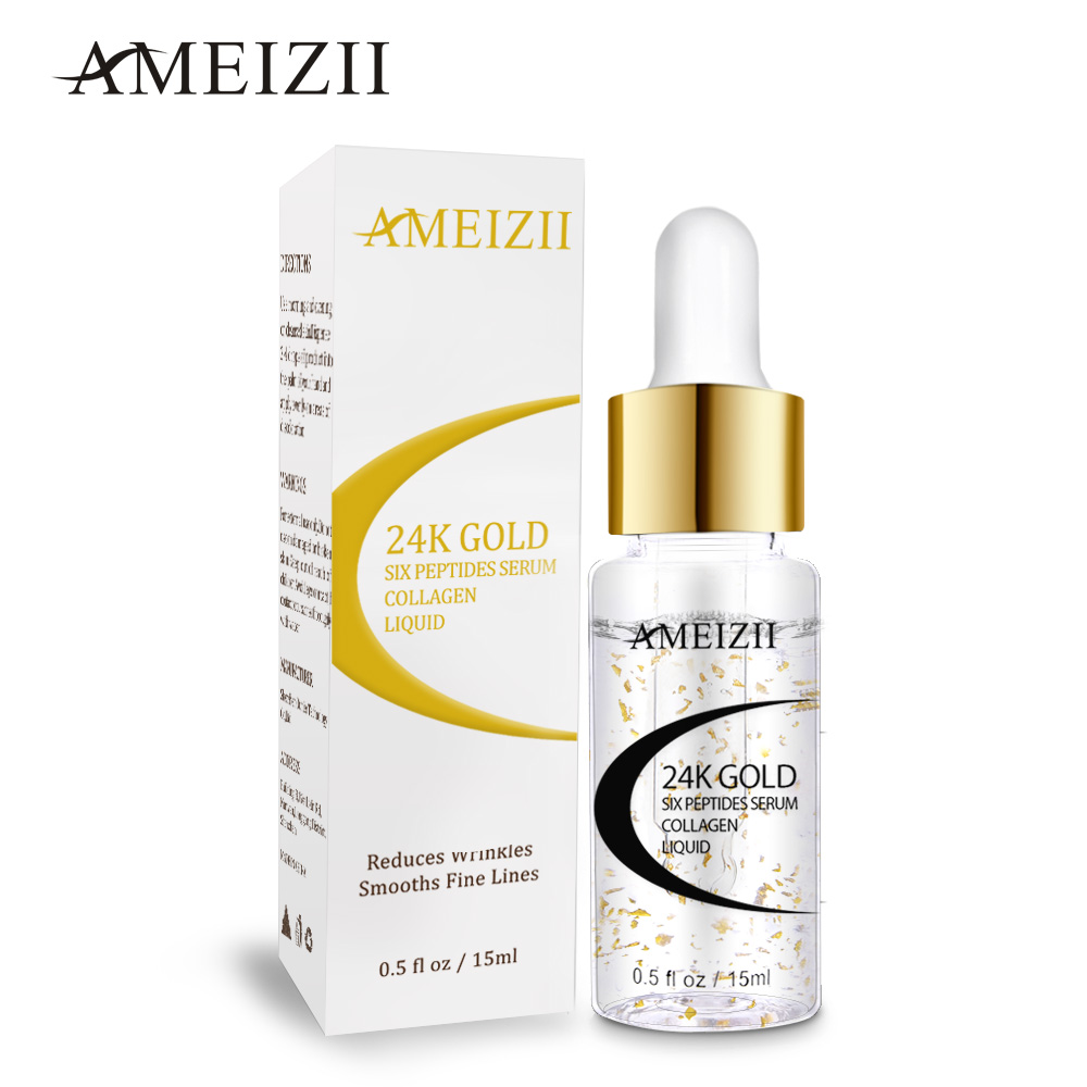 AMEIZII 24K Gold Six Peptides Serum Hyaluronic Acid Anti-Wrinkle Anti-Aging Serum Lift Firming Treatment Moisturizing Whitening
