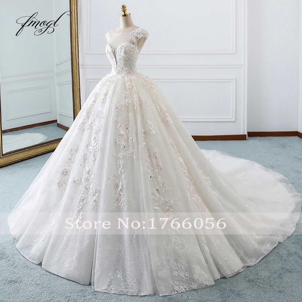 Image 3 - Fmogl Vestido De Noiva Princess Ball Gown Wedding Dresses 2019 Appliques Beaded Flowers Chapel Train Lace Bridal Dress-in Wedding Dresses from Weddings & Events
