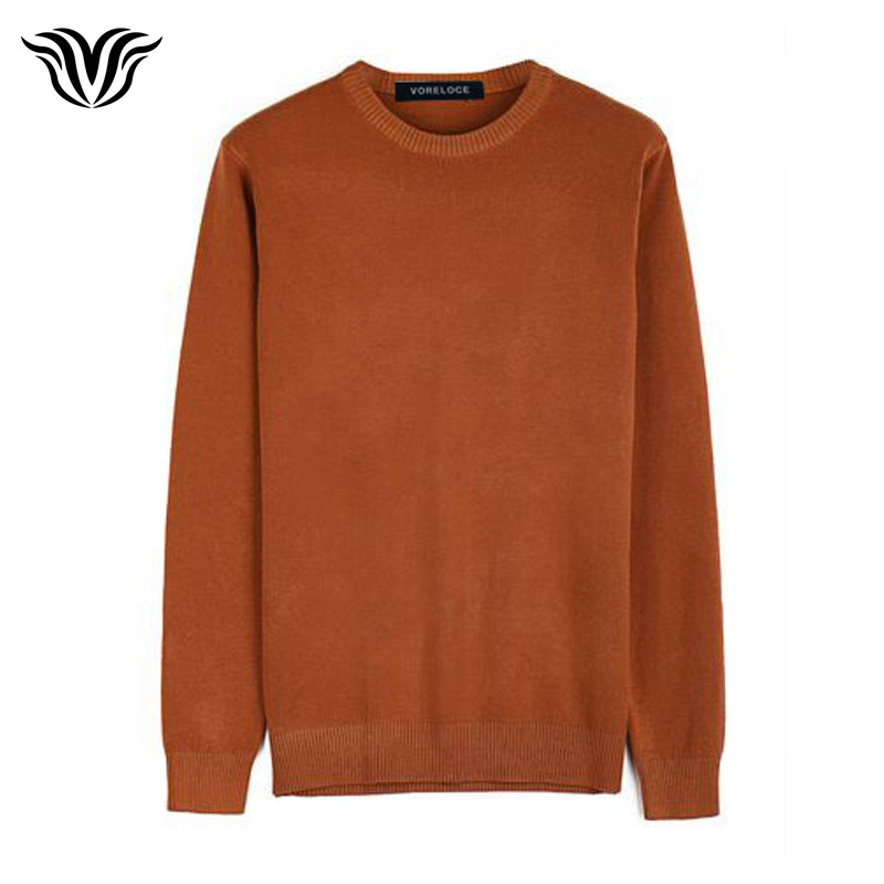 VORELOCE brand clothing mens solid color round sweater 2017 autumn and winter warm 100% cotton high-quality fashion sweater