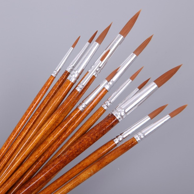 12Pcs Artists Paint Brush Set Acrylic Watercolor Round Pointed Tip Nylon Hair -Y102