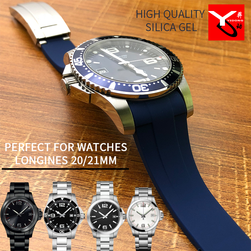 20/21mm Rubber Silicone Watch Strap Top Quality Combination Buckle Watchband Suitable For Role Daytona Submariner GMT Longines