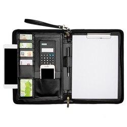 Clip de gestion de dossiers multifonctionnel, professionnel, A4, Clip en cuir avec fermeture à glissière pour le bureau, calculatrice de cahier à verrouillage de mot de passe