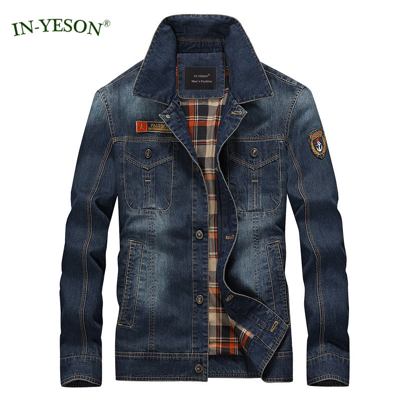 Brand Men's Denim Jacket Classic Rock Hip Hop Jacket Streetwear European Style Slim Fit Spring Autumn Jeans Jacket Men Size 4XL simwood 2018 summer new jeans men ripped ankle length fashion hole hip hop denim trousers slim fit streetwear plus size 180116