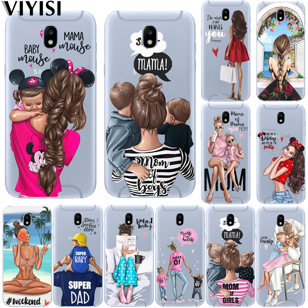 Fashion Luxury Black Baby Mom Girl Brown Family Hair <font><b>Etui</b></font> Case For <font><b>Samsung</b></font> Galaxy A7 2018 case A6 A8 A5 <font><b>A3</b></font> A9 <font><b>2016</b></font> 2017 Coque image