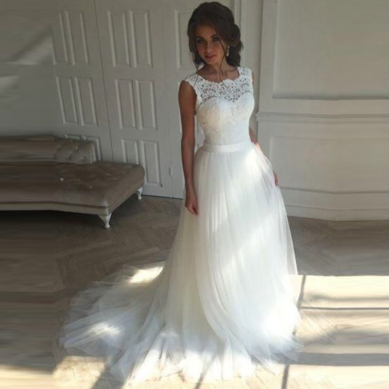 Vestiti Sposa Vestiti Da Sposa Vintage Lace Tulle Wedding Dress Backless A line Wedding Gown Lace up Back Bridal Dress 2019