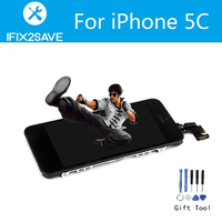 For IPhone 5C LCD Full Replacement Screen Display Touch Digitizer Small Part Front Camera Frame Home
