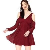 Nowy 2018 Moda Kobiety Sexy Głębokie V Neck Dress Off The Shoulder Otwórz Wróć Wysoka Talia Mini Suknie Szyfonowe Wina czerwony