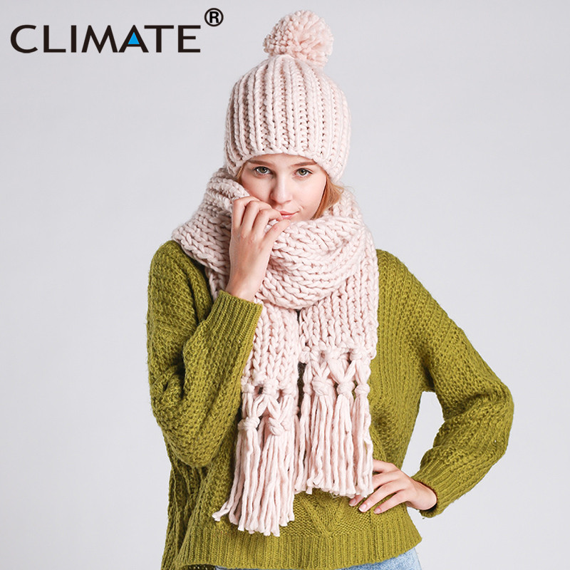 CLIMATE Women Winter Scarf And Hat Set Winter Girls Lady Warm Knit Pompom Beanie Bonnet Hat Scarf Set Hat And Scarf Winter Set