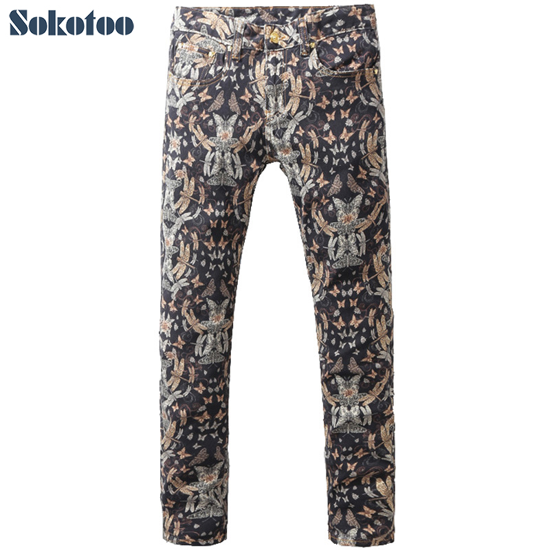 ФОТО Sokotoo Men's fashion dragonfly print jeans Male vintage slim denim pants Long trousers